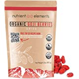 Organic Goji Berries - 2 lbs/32oz/907g - Premium Dried, Extra Large Berries - Raw, Non GMO - USDA Certified - Natural Superfood - with Resealable Bag by Nutrient Elements - Free Recipes E-Book