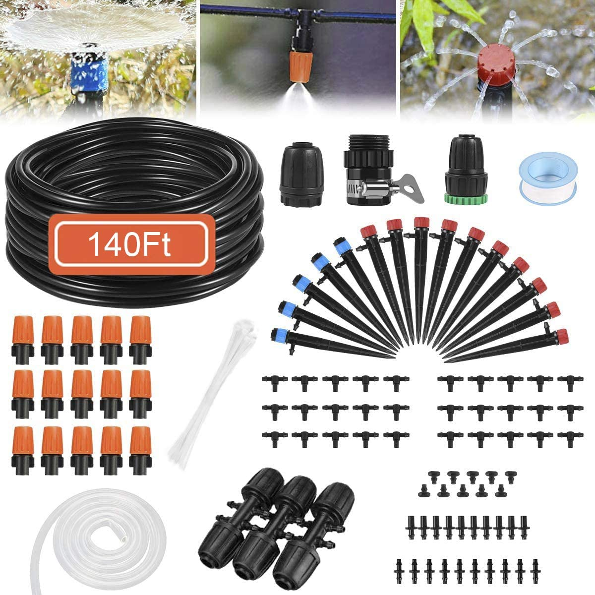 Drip Irrigation System, 140 Feet WateringSystem with 1/4