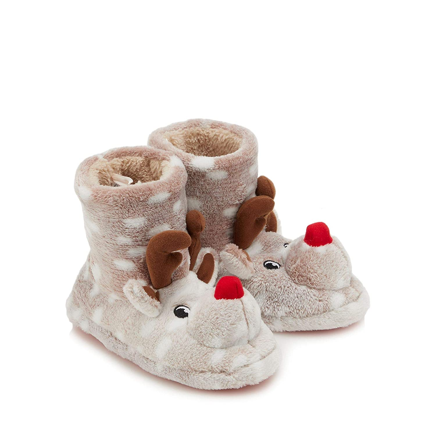 de19d283e9532 Bluezoo Kids Boys  Brown Fleece  Rudolph  Bootie Slippers  bluezoo   Amazon.co.uk  Clothing