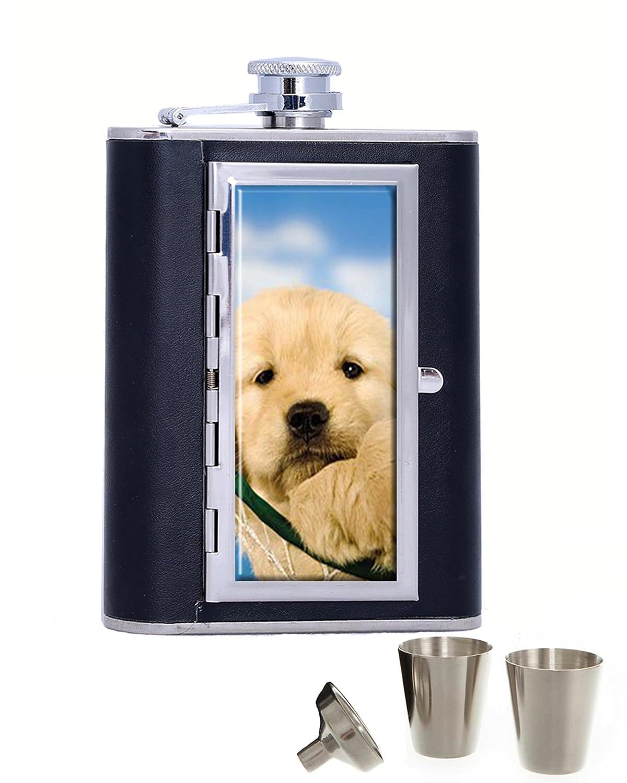 Puppy In Hammockポータブルステンレススチールandレザーアルコールヒップフラスコとコンパートメントシガレットケース、ブラック(6オンス) B07FLS6XS7