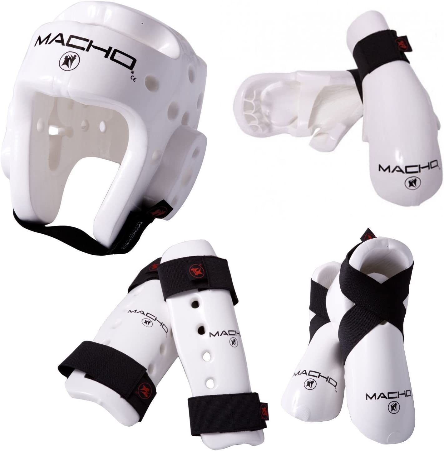 Macho Dyna WHITE 7 piece Sparring Gear Set Any Size with shin