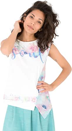 Smash! Camiseta Blanca Romantica con Estampado Posicional de Texto y Floral Camiseta Manga Corta con Cuello Redondo de Mujer para Verano T-Shirt Dana