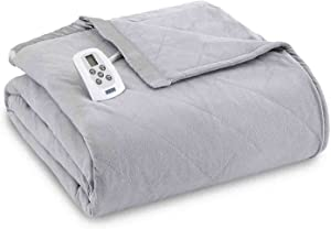 Shavel Home Products Micro Flannel Solid Electric Heated Blanket Greystone King/California King