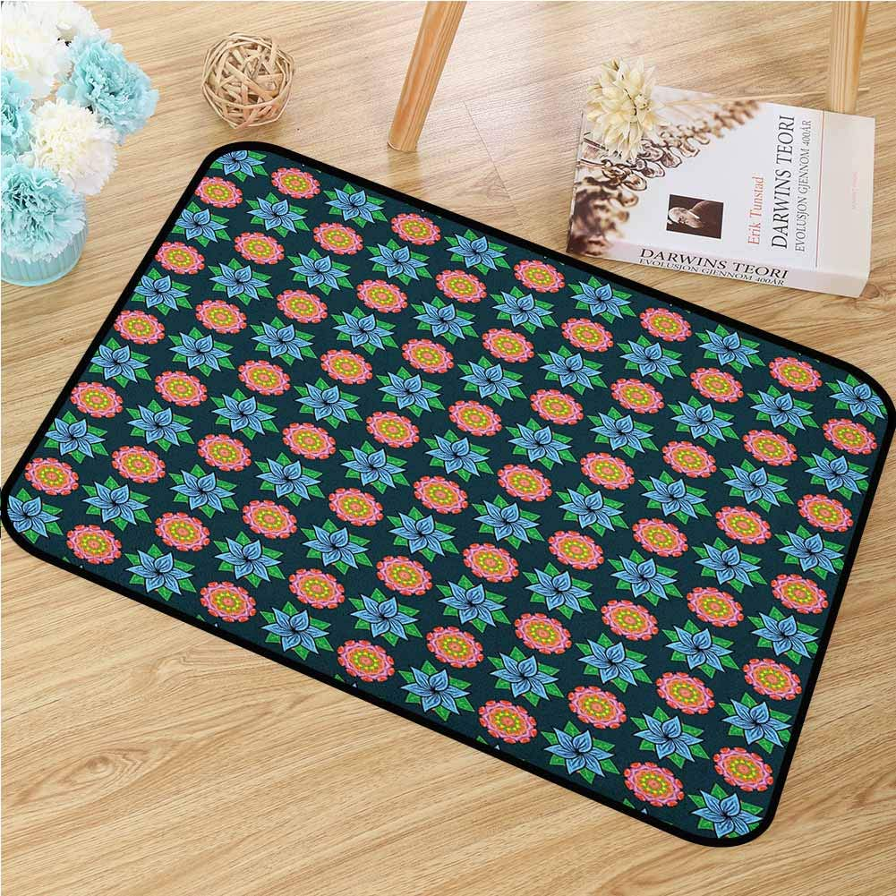Floral Welcome Door mat Flourishing Flower Blooms Vibrant Toned Spring Season Foliage Leaves Retro Garden Door mat is odorless and Durable W35.4 x L47.2 Inch Multicolor
