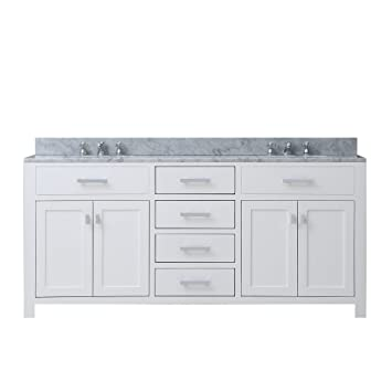 Water Creation MADISON 72W 72 Inch Solid White Double Sink Bathroom Vanity