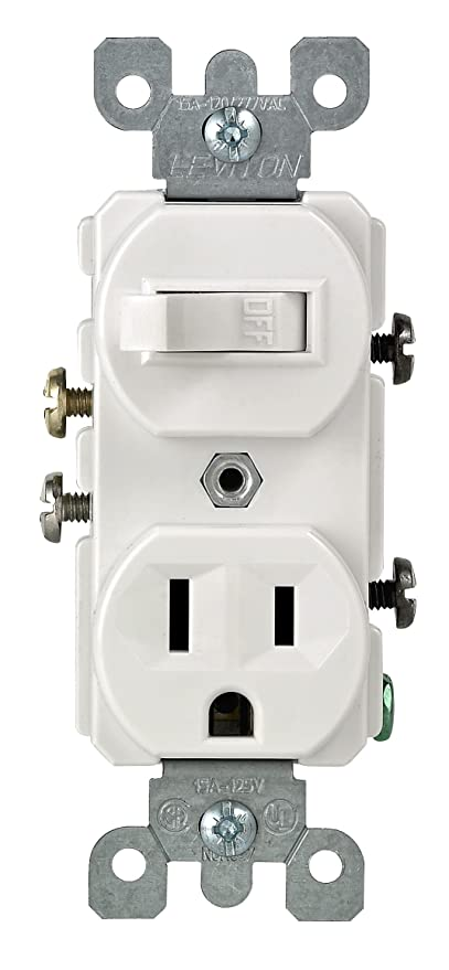 Leviton 5225-WSP Combo Switch and Receptacle, White - Wall Light ...