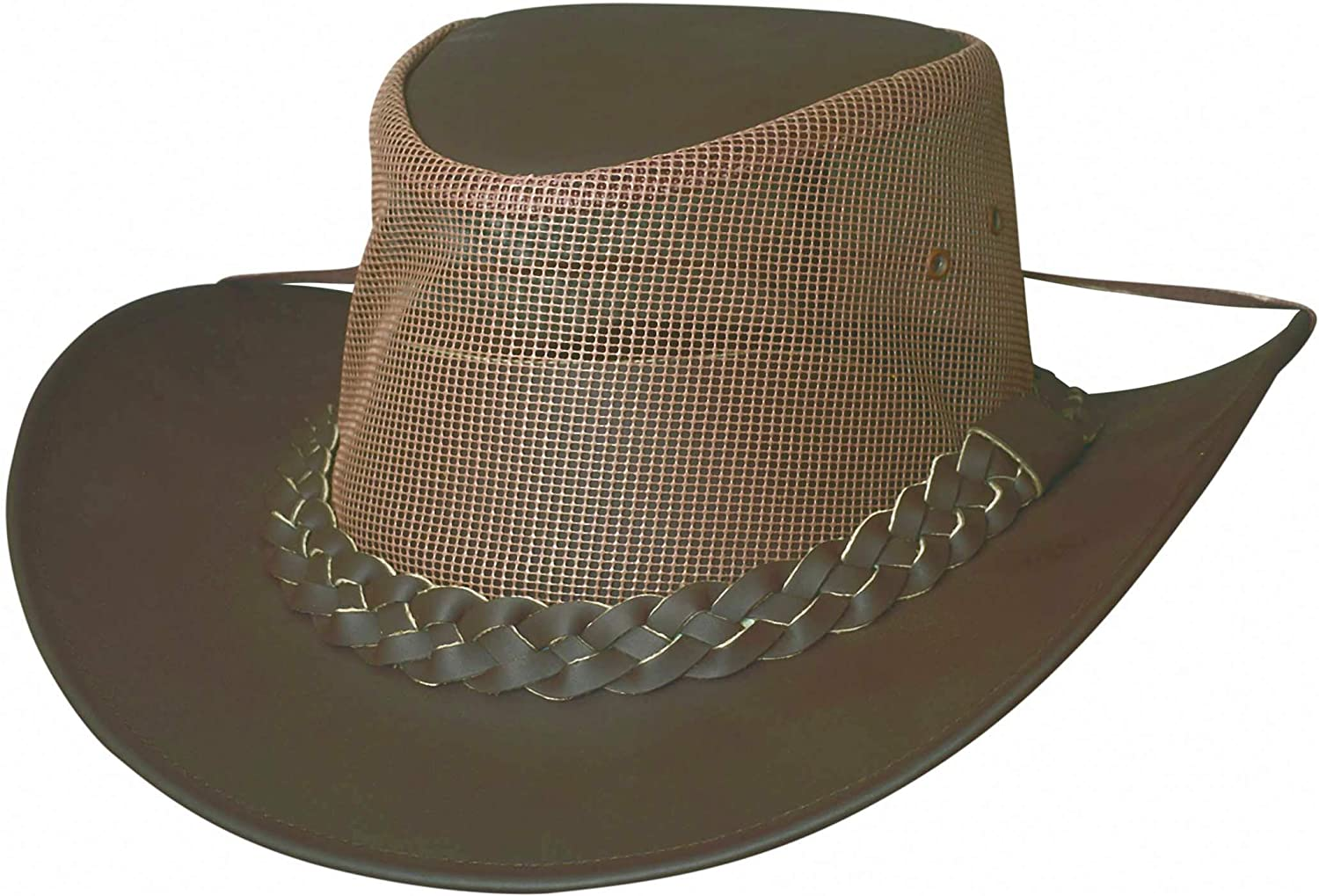 Bullhide Down Under Collection Genuine Leather Payson Chocolate Mesh Crown Chin Strap Size XL