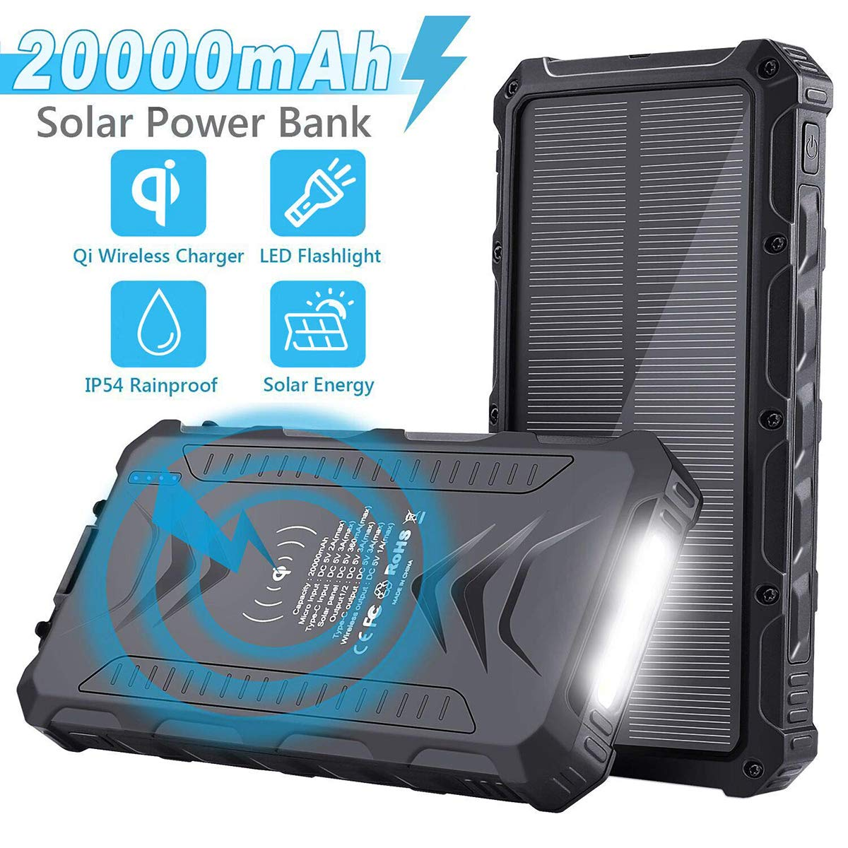 Solar Power Bank, Uplayteck 20000mAh Portable Phone Charger with 4 Outputs, Qi Wireless, Type-C, SOS Flashlight, Rainproof External Backup Battery for Hiking Camping Outing by Uplayteck