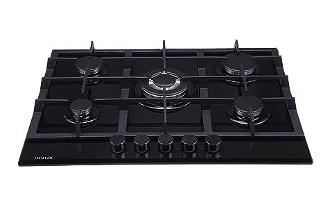 code promo fceac afc5b Millar GH7051TB Plaque de cuisson en Verre trempé avec 5 brûleurs à gaz  Noir 70 cm/Table de Cuisson