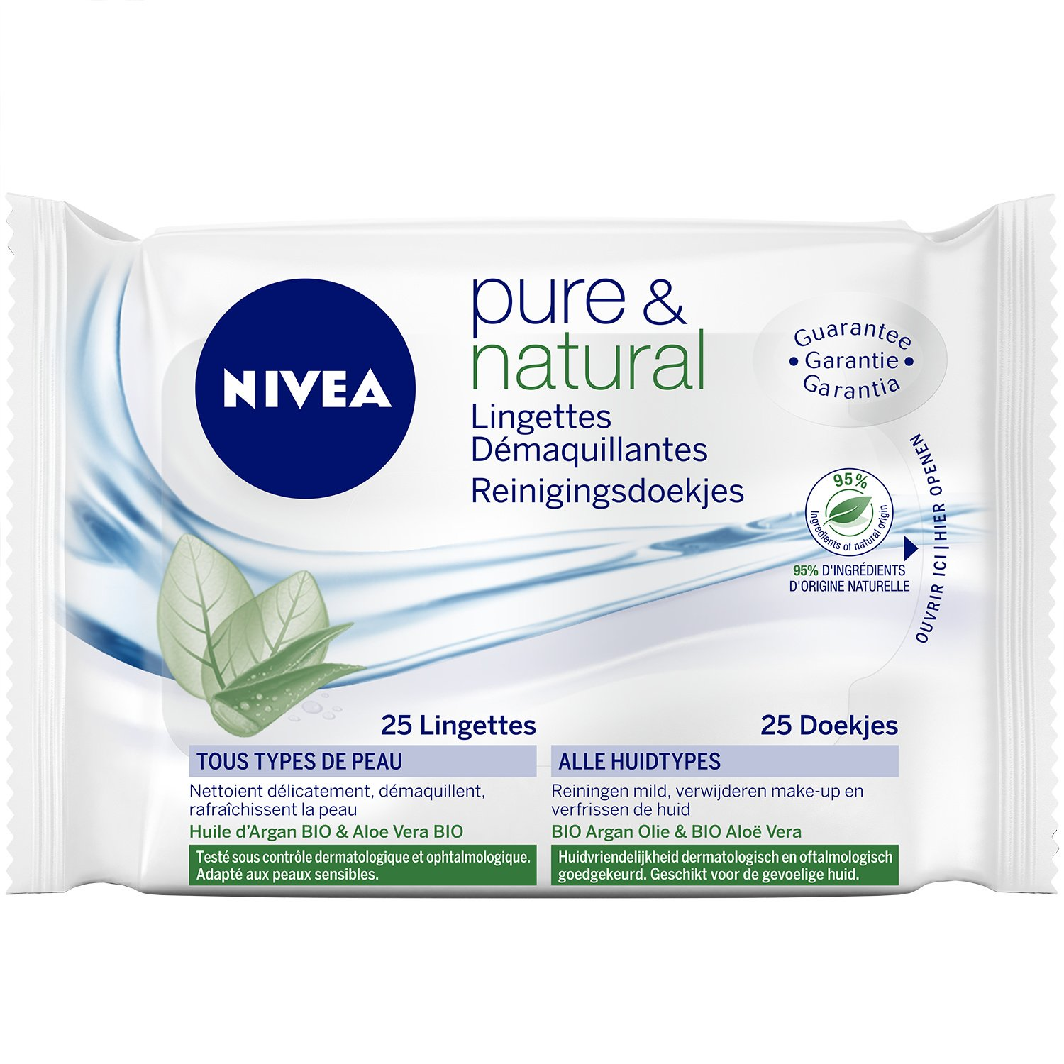 Nivea Pure et Natural Lingettes Démaquillantes Biodégradables x 25 - Lot de 2 Nivea Visage