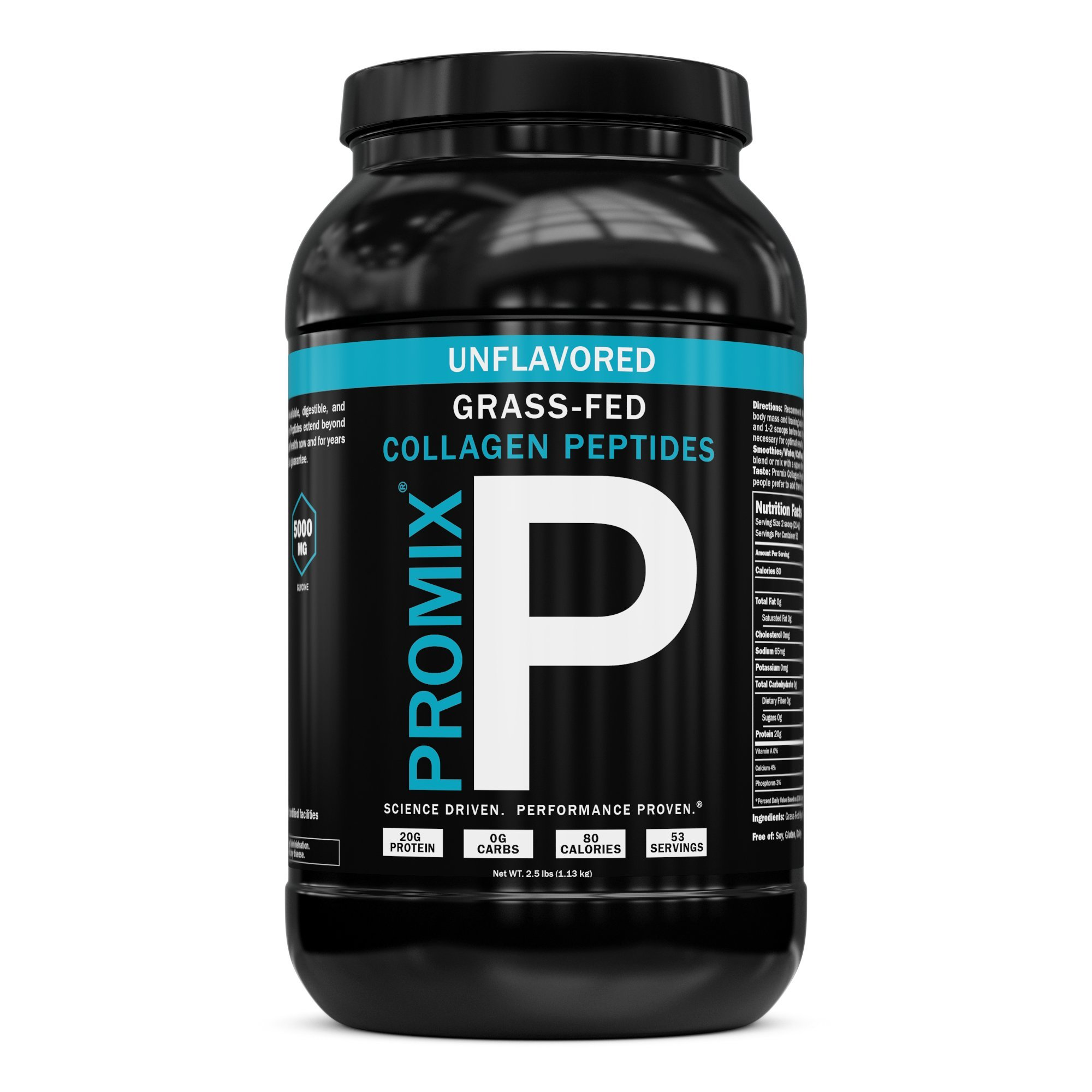Collagen Peptides Powder 100% Grass-fed Hydrolysate Type I III Hydrolyzed Highest Potency Available. Keto Zero Low Carb Paleo. PROMIX 1 Ingredient Gluten Free USA GMP Certified. Unflavored, BULK 2.5LB