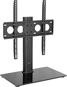 VIVO Black Universal TV Stand for 32 to 50 inch LCD LED Flat Screens, Tabletop VESA Mount with Tempered Glass Base and Cable Management (STAND-TV00J)