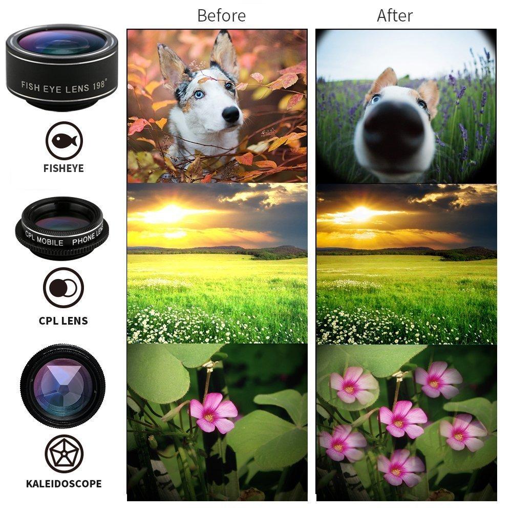 Atfung Lentes para M/óviles Kit 7 en 1 Lente Fisheye 198/° Gran Angular Movil 0.36X y 0.63X 2X Zoom Telefono 15X Lentes Macro CPL con Clip-on Objetivo para iPhone Samsung Huawei