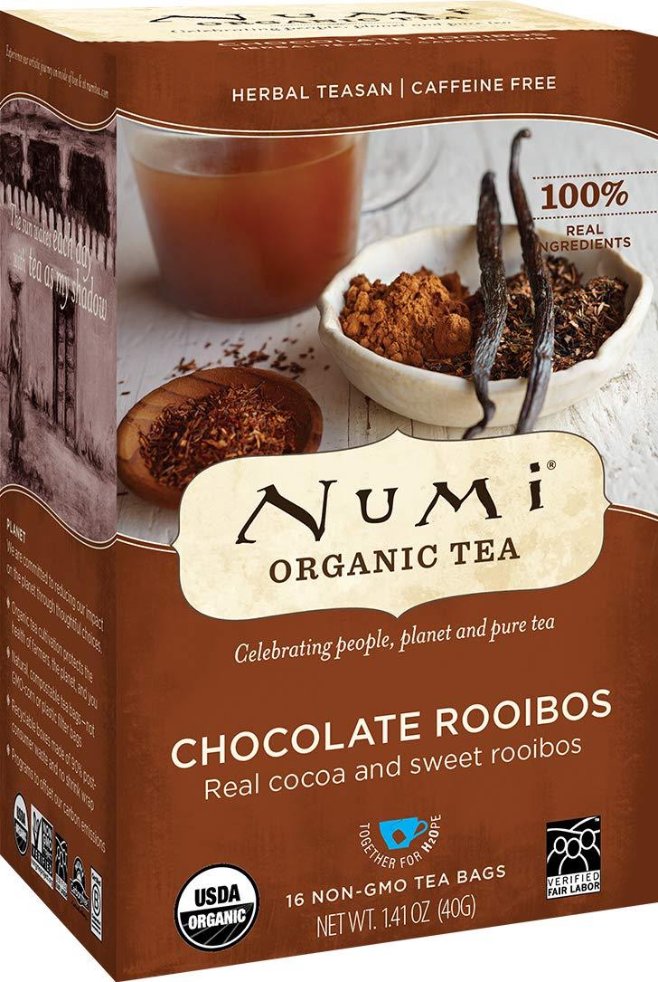 Numi Organic Tea Chocolate Rooibos, 12 Count Box of Tea Bags (Pack of 3) Herbal Teasan (Packaging May Vary)