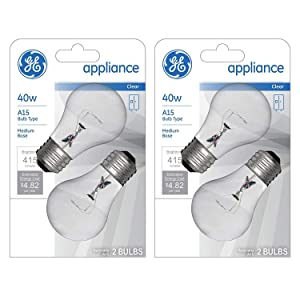 GE Appliance Clear Light Bulb 40w, A15 Bulb Type, Medium Base | 415 Lumens | 2-Count per Pack (2-Pack)