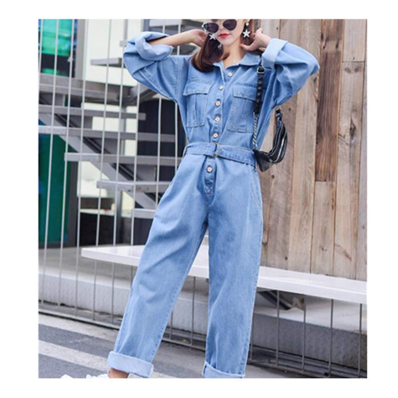 Fashion Denim Overalls Women Bodysuit High Waist Jeans Bodycon Romper Wide Leg Jumpsuit