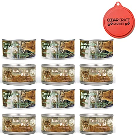 Taste of the Wild Cat Food Variety Pack with Can Topper - 3 Ounces - 2 Flavors - Rocky Mountain Feline with Salmon & Roasted Venison Formula and ...