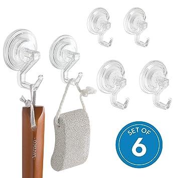 InterDesign Power Lock Ganchos para Toallas, colgadores para baño de plástico, Juego de 6 Ganchos con Ventosa, Transparente: Amazon.es: Hogar