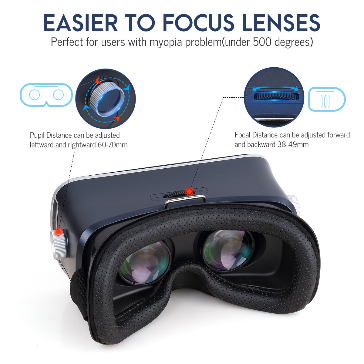 Pansonite 3D VR Glasses Virtual Reality Headset for Games & 3D Movies, Upgraded & Lightweight with Adjustable Pupil and Object Distance for IOS and Android Smartphone by Pansonite (Image #2)