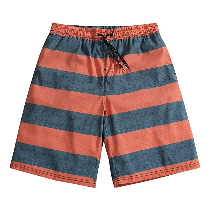 8b54f78a14 SULANG Men's Striped Board Shorts Slim Fit Ultra Quick Dry No Mesh ...