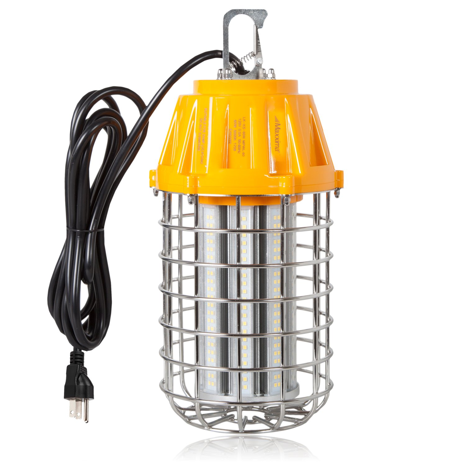 Maxxima High Bay LED Temporary Work Light Fixture, 60 Watt 7200 Lumens Daylight 5000K, Stainless Steel Cage Guard, Plug in