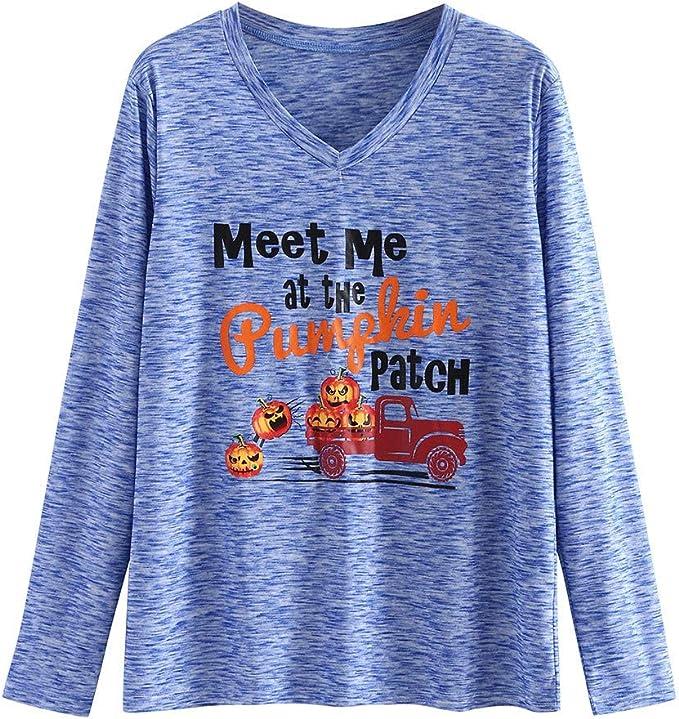 Camiseta de manga larga para mujer de Halloween, Hawkimin, blusa de camisa, cuello en V, blusa suelta con letras mayúsculas impresas, camisa de manga larga extra-large azul: Amazon.es: Grandes electrodomésticos