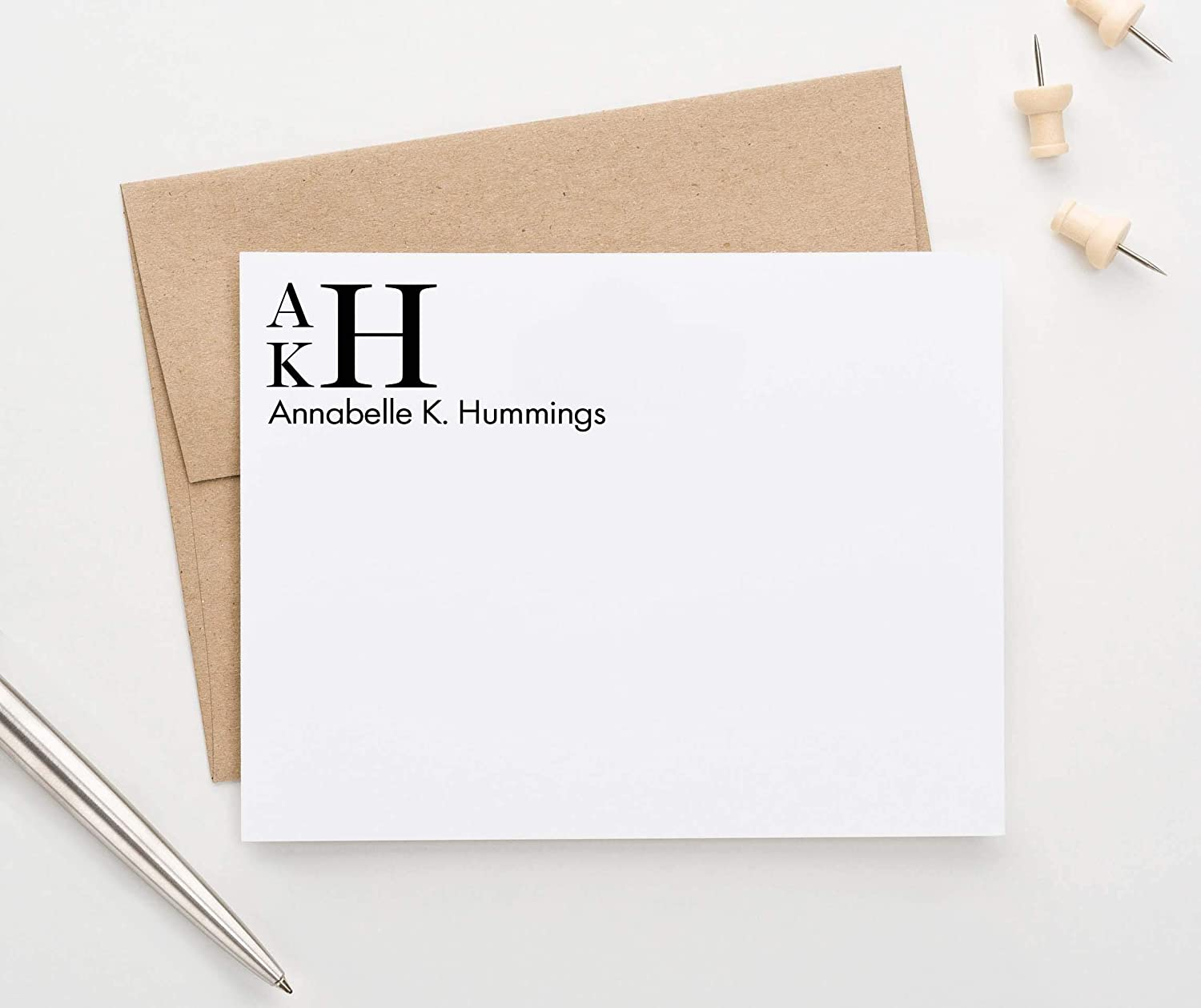 Personalized Stationery Set Letterpress Cards with Digital Personalized Name or Monogram for a Girl or Boy!