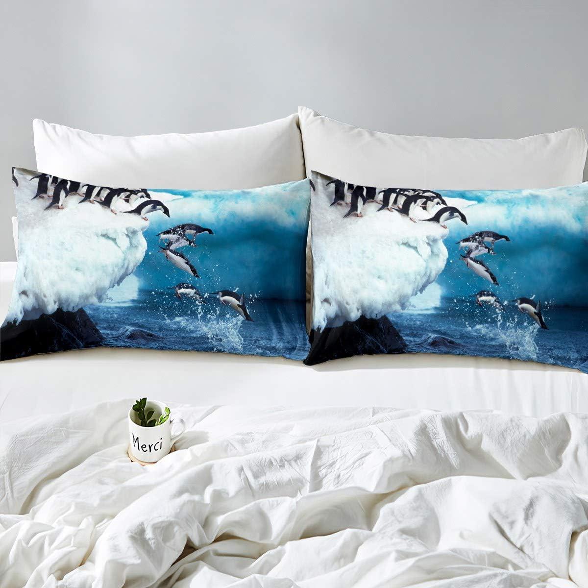 Feelyou Kids Cartoon Penguin Duvet Cover Cute Polar Animal Comforter Cover Funny Penguins Printed Bedding Set for Children Polka Dots Bedspread Cover Room Decor Twin Size Bedclothes Zipper