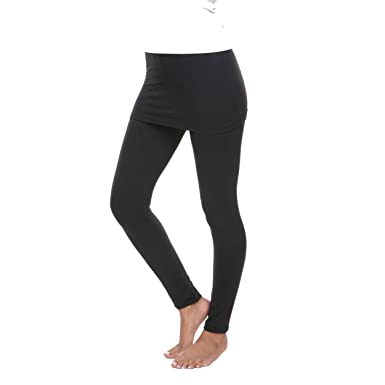 c8575bd1121e5e White Mark Women's Full Length Skirted Leggings Yoga Pants - Black - Small