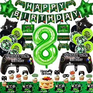 Video Game Party Supplies 8th Game Birthday Party Decorations for Game Fans Kind Boys Girls Game on Birthday Party Supplies for Game Fans Classical Black and Green Theme Game Party Decor Green Gaming Banner Black and Green Balloons Game Controller Balloons…
