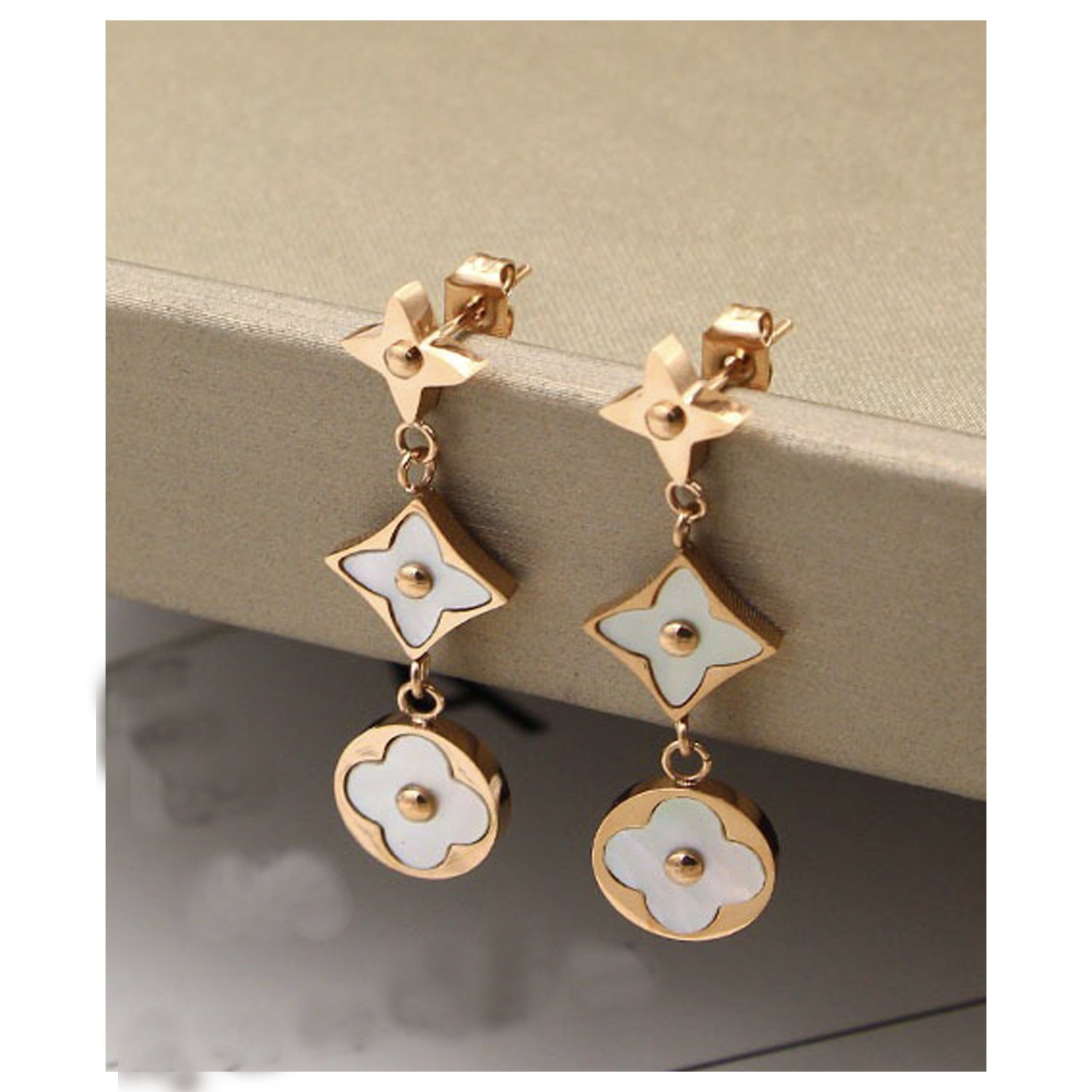Women's Fashion Earrings Korean Style Three Icon Drop Earrings Stainless Steel Rose Gold (White)