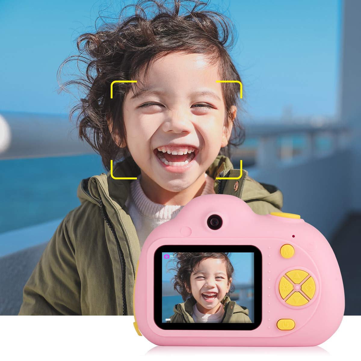 Tyhbelle Kids Camera Video Recorder Anti-Dropping Dual Camera Kids Toy with 16G TF/Micro SD Card (Pink) by Tyhbelle (Image #6)