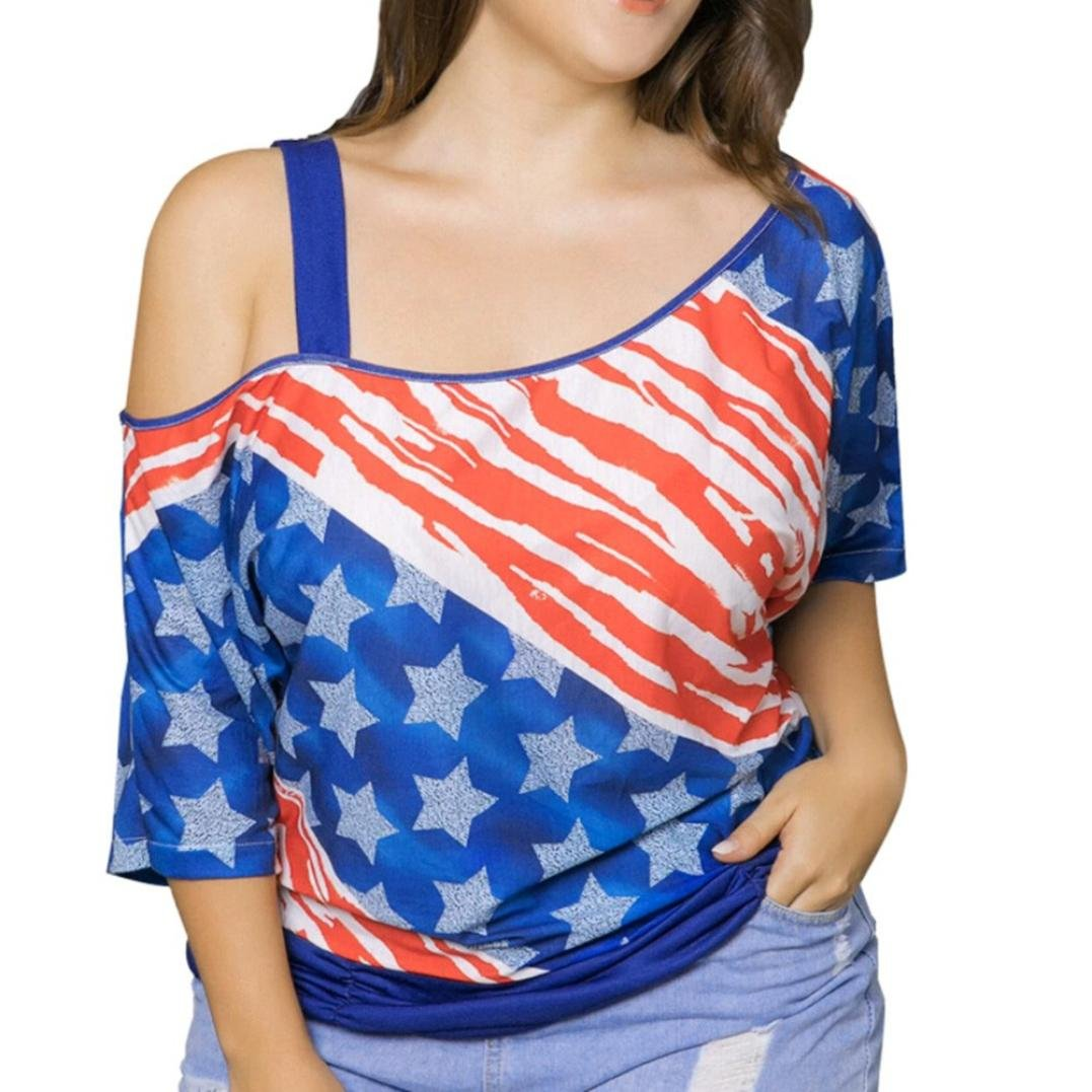 正規品販売! fimkaulファッションレディースプラスサイズTシャツAmerican Flag Print Cold Shoulderチュニックトップスブラウス Print XXXXL XXXXL ブルー B07CXL26LM B07CXL26LM, ツキガタムラ:20241ac0 --- svecha37.ru