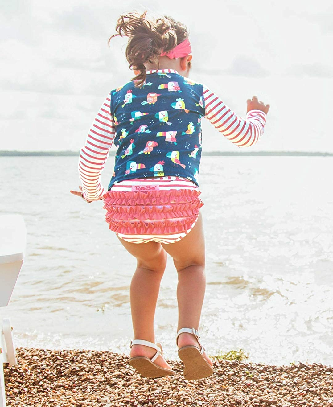 RuffleButts Girls Youre The Tweetest Stripe Long Sleeve Rash Guard Bikini 5