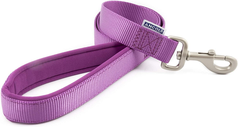 M Ancol Padded Nylon Dog Lead 1M x 19mm Purple