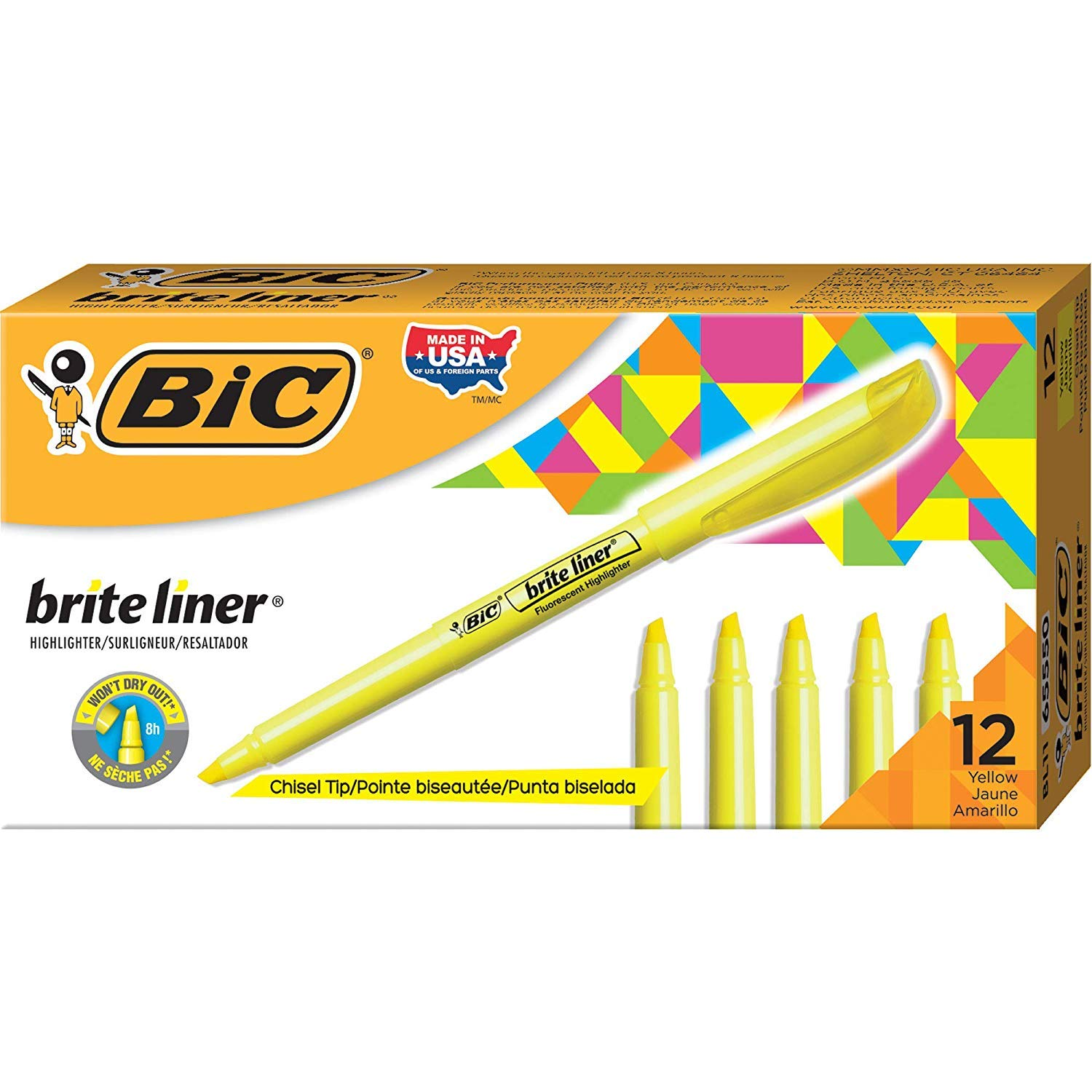 BIC Brite Liner Highlighter, Chisel Tip, Yellow, 12-Count, Pack of 7 by BIC