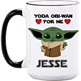 Baby Yoda Mug - Personalized Large Ceramic Cup - Yoda One For Me - Boyfriend Gifts from Girlfriend - Star Wars Mugs Gift…