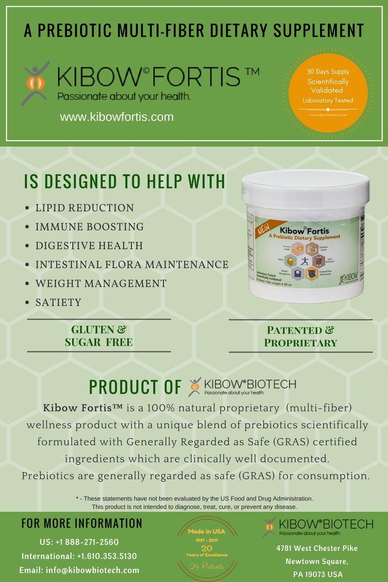 Kibow Fortis 3 Powder Pack Prebiotic Functional Multi-Fiber Supplement - Direct from the manufacturers of Renadyl™ (Kibow Biotech Inc./ www.kibowbiotech.com )