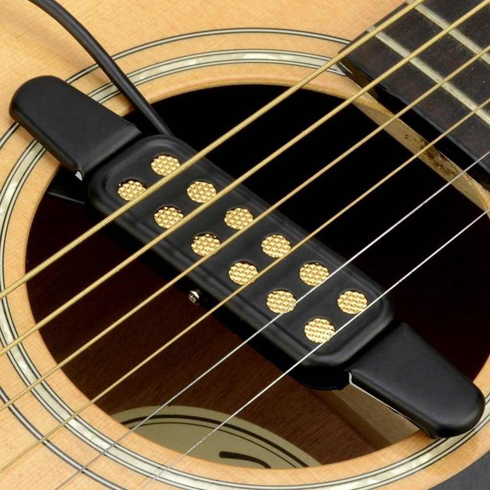 Guitarra Pastilla pickup, 12 agujeros guitarra pickup para guitarra acústica guitarra Western concierto con cable de 3 m guitarra accesorios: Amazon.es: Instrumentos musicales