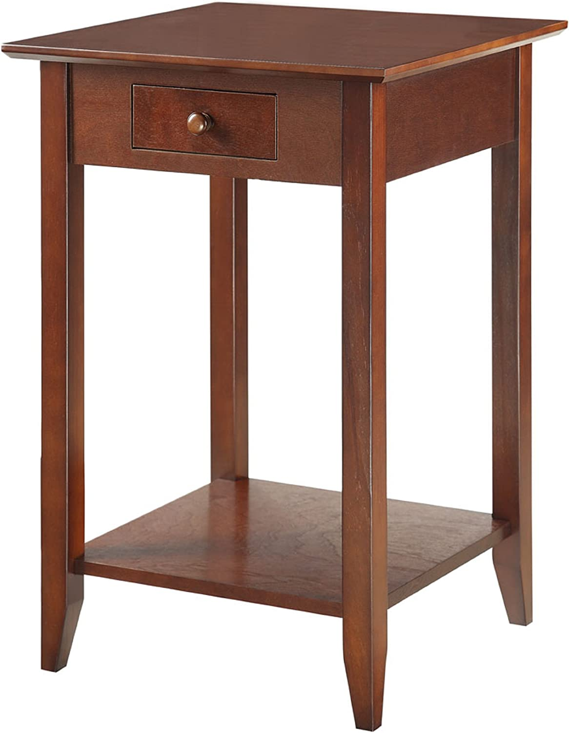Convenience Concepts American Heritage End Table with Shelf and Drawer, Espresso