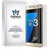 EURPMASK Samsung Galaxy S7 edge 専用「ケースに干渉せず」エッジ部分まで 全面保護フィルム 高透過率 スムースタッチ 耐久性 撥油性 指紋防止 保護フィルム【4枚付き、液晶面フィルム3枚+背面保護フィルム1枚】「品質保証」(クリア)