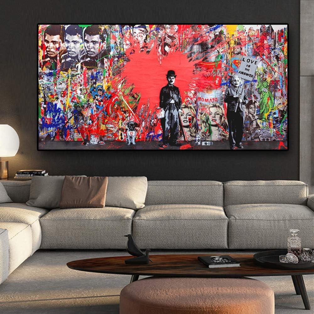 SQSHBBC Abstracto Charlie Chaplin Lienzo en Forma de corazón Rojo Réplica de póster y Grabado Graffiti Street Cuadros Wall Living Room Art Picture 40 x 80 cm sin Marco: Amazon.es: Hogar