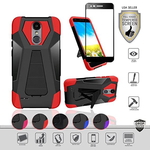 LG Aristo 3/2/2+/Rebel 4/K8+/Tribute Empire/Dynasty/Zone4/Rebel 3/Fortune 2/Risio 3/Phoenix 4 Case, Tempered Glass, Hybrid [Kickstand] (Black/Red)