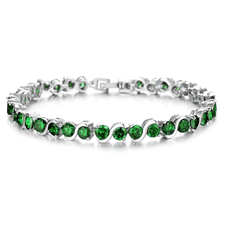 45 CT Created Green Emerald Round Bracelet Valentine Gift White Gold Plated Womens Bracelet