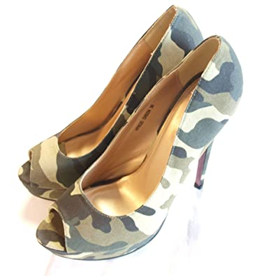 Jumex Camouflage Pumps Peeptoes High Heels Plateausohle /14 cm Absatz/ 900001