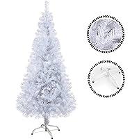 Sunjas Weihnachtsbaum weiß, 120/150/180/210 cm Weiß, künstlicher Weihnachtsbaum, Kunsttanne mit Metallständer und schwer entflammbar, Hochwertiger Christbaum, weiße Tannenbaum
