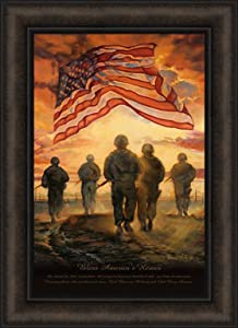 Home Cabin Décor Bless America's Heroes by Bonnie Mohr 16x22 Patriotic Flag Military Soldiers Freedom Prayer Inspirational Framed Art Print Picture