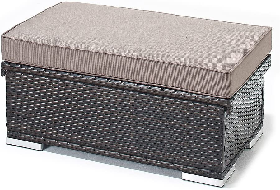 Garden Storage Chest Large Poly Rattan Patio Box Outdoor Blanket Pillows Black