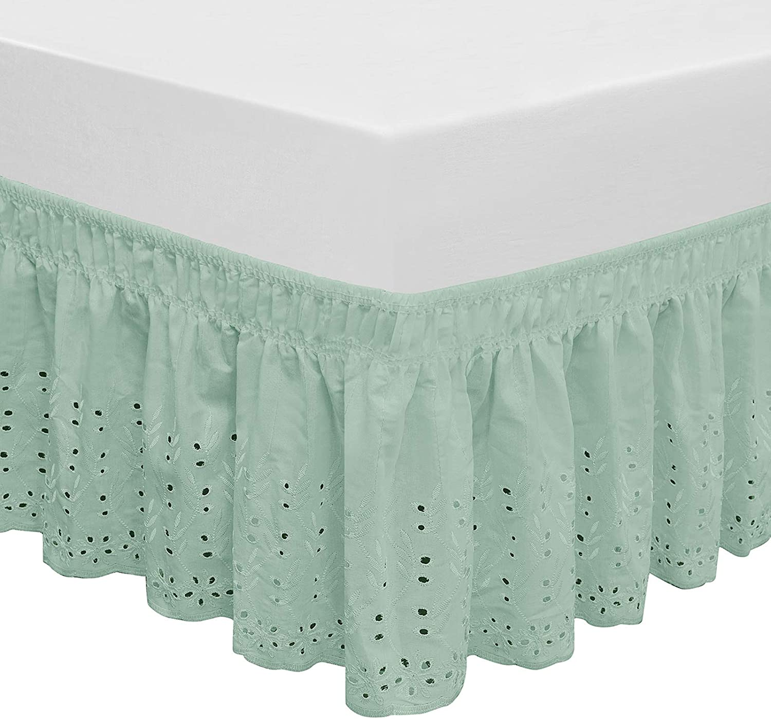 QSY Home Wrap Around Elastic Eyelet Bed Skirts 14 1/2 Inches Drop Dust Ruffle Three Fabric Sides Easy On/Easy Off Adjustable Polyester Cotton 14 1/2 Inches Drop(Light Green Queen/King)