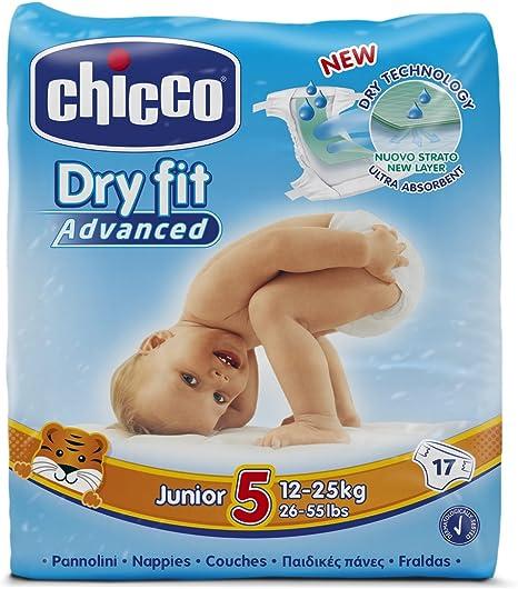 Chicco DryFit - Pack de 17 pañales ultra absorbentes, talla 5, 12 ...